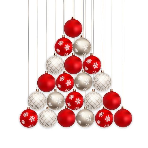 Boules de noël 3d pour vacances nouvel an sur fond blanc Vecteur Premium