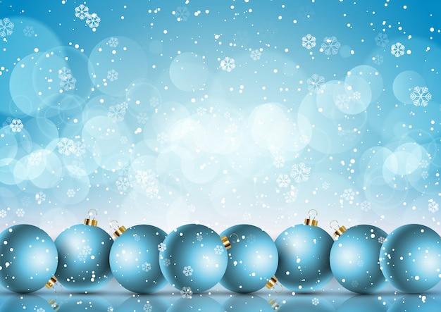Boules de noël sur fond de flocon de neige Vecteur gratuit