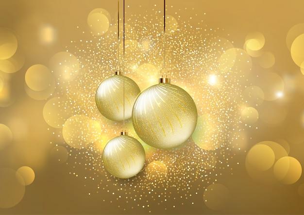 Boules De Noël Sur Fond De Lumières Dorées Bokeh Télécharger Des