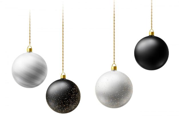 Boules De Noël Réalistes En Noir Et Blanc Suspendus Sur Des