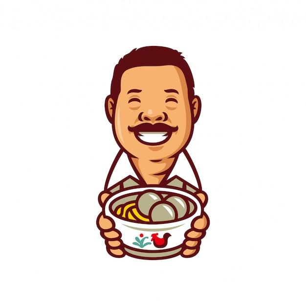 Boulette De Viande Bakso Chef Mascotte Logo Modèle Illustration Vectorielle Vecteur Premium