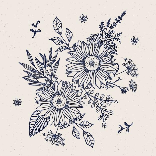 Bouque Floral Vintage Dessiné Main Réaliste Vecteur gratuit