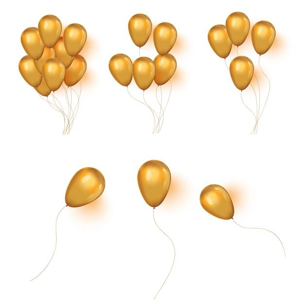 Bouquet D'anniversaire D'or Réaliste Hélium Doré De Ballons. Vecteur Premium