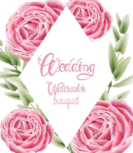 Bouquet D'aquarelle De Mariage Avec Fleurs Et Feuilles De Roses Vecteur Premium