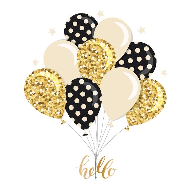 Bouquet de ballons brillants élégants. Vecteur Premium