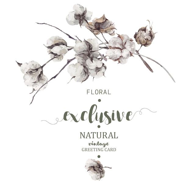 Bouquet de brindilles et de fleurs de coton Vecteur Premium
