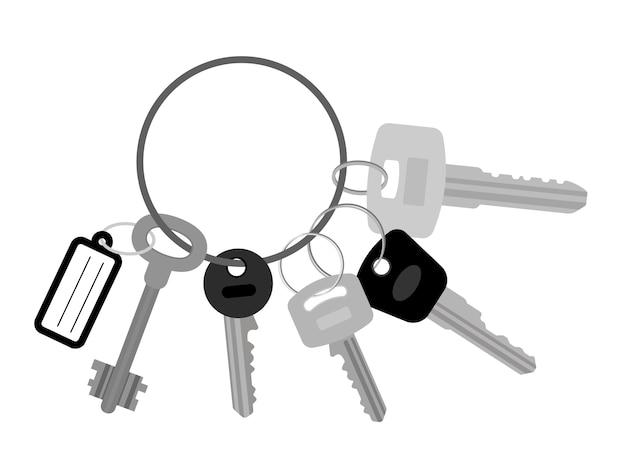 Bouquet de clés à plat Vecteur Premium