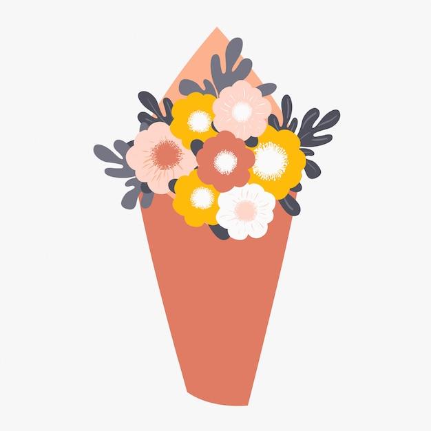 Bouquet de fleurs printanières enveloppées dans du papier Vecteur Premium