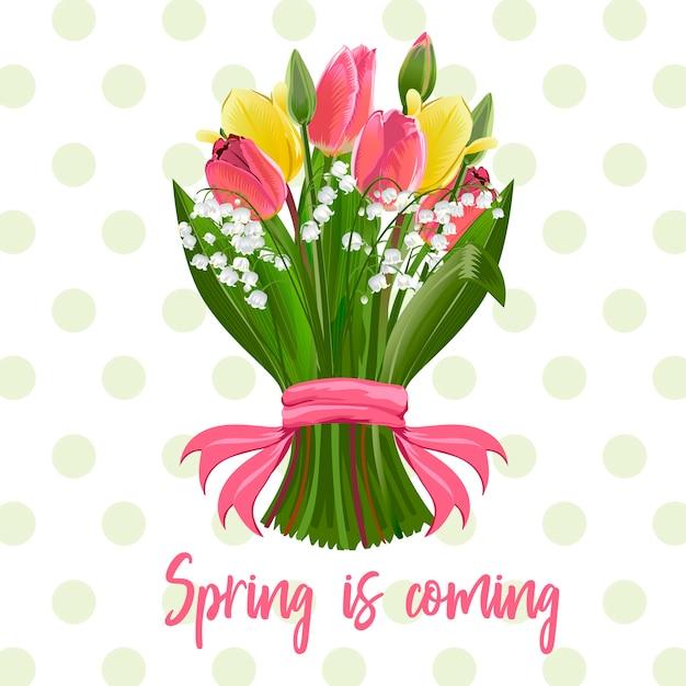 Un bouquet de fleurs de printemps Vecteur Premium
