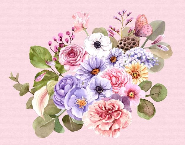Bouquet De Fleurs Roses. Vecteur Premium