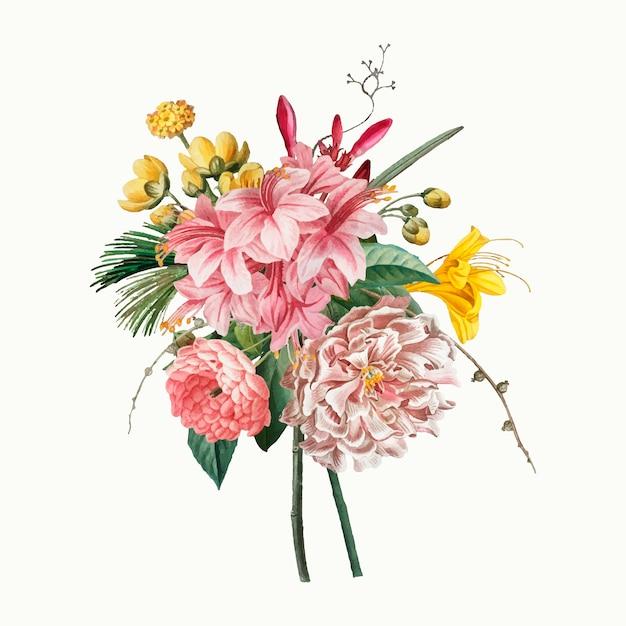 Bouquet de fleurs vintage Vecteur gratuit