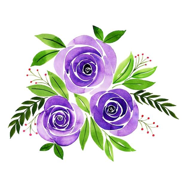 Bouquet floral aquarelle saint valentin Vecteur Premium