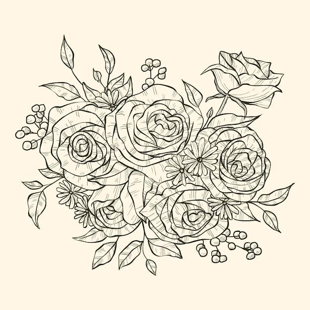 Bouquet Floral Dessiné à La Main Réaliste Vecteur gratuit