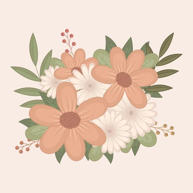 Bouquet floral vintage coloré Vecteur gratuit