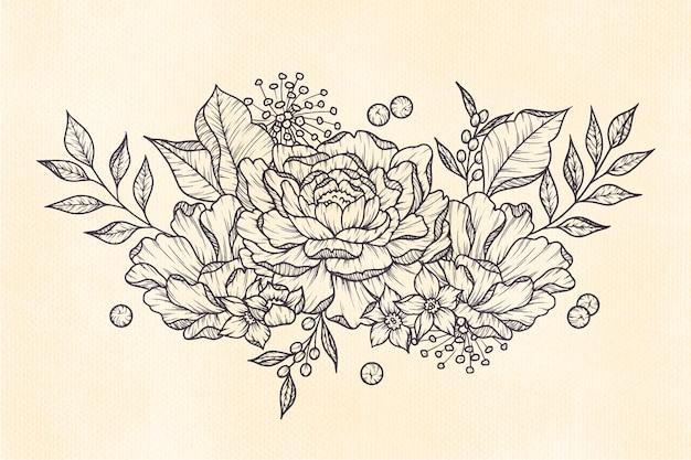 Bouquet floral vintage dessiné main réaliste Vecteur gratuit