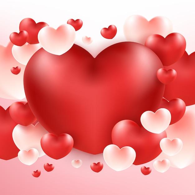 Bouquet de gros coeur rouge sur fond rose t l charger des vecteurs premium - Un gros coeur d amour ...