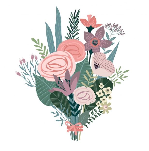 Bouquet d'illustration vectorielle de fleurs Vecteur Premium