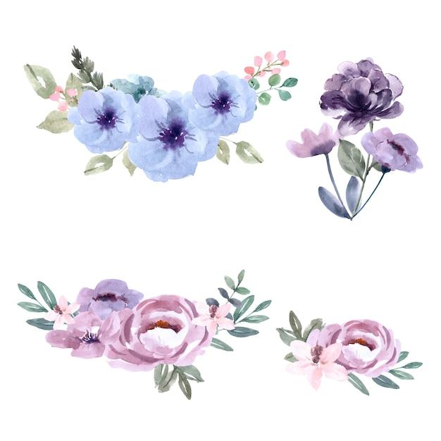 Bouquet pour décoration de couverture unique, fleurs de couleurs exotiques Vecteur gratuit