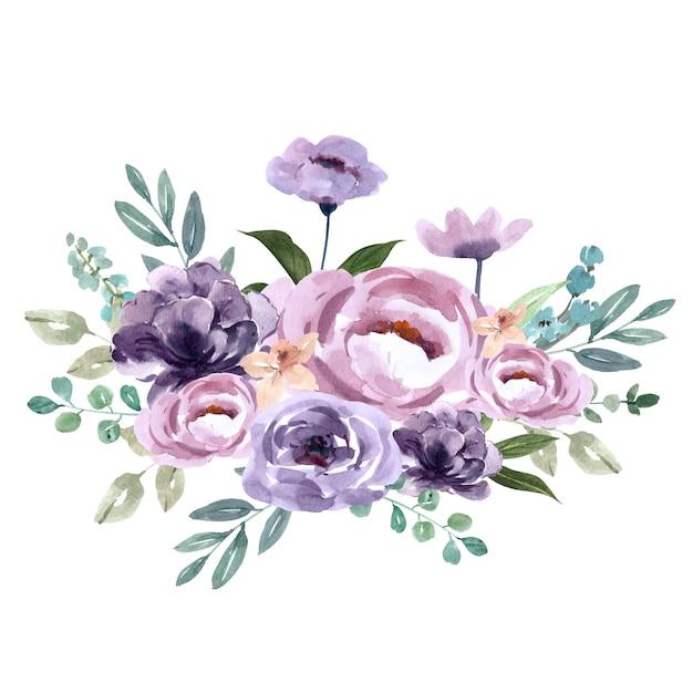 Bouquet pour décoration de couverture unique, fleurs violettes exotiques Vecteur gratuit