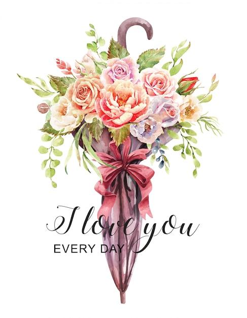 Bouquet de roses aquarelle dans un vase de parapluies. Vecteur Premium