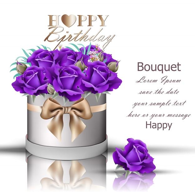Bouquet De Roses Violettes Joyeux Anniversaire Télécharger