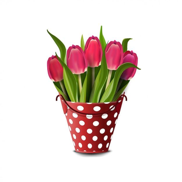 Bouquet De Tulipes Dans Un Seau Isolé On White Vecteur Premium