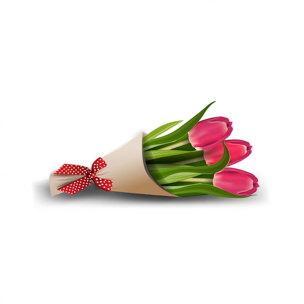 Bouquet De Tulipes Isolé Sur Blanc Vecteur Premium
