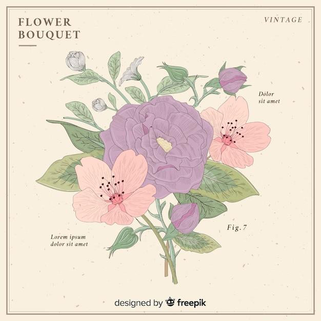 Bouquet vintage Vecteur gratuit