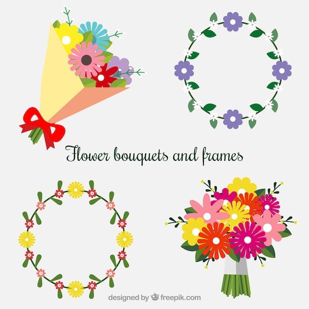 Bouquets et cadres dans le style plat Vecteur gratuit