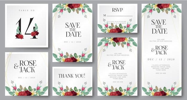 Bourgogne blush aquarelle floral carte d'invitation de mariage Vecteur Premium