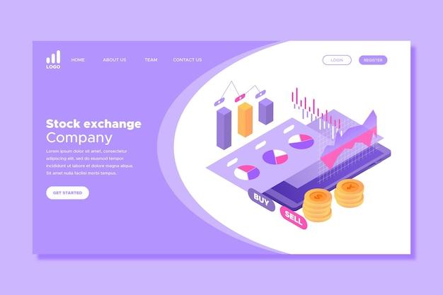 Bourse Avec Page D'atterrissage D'argent Vecteur gratuit