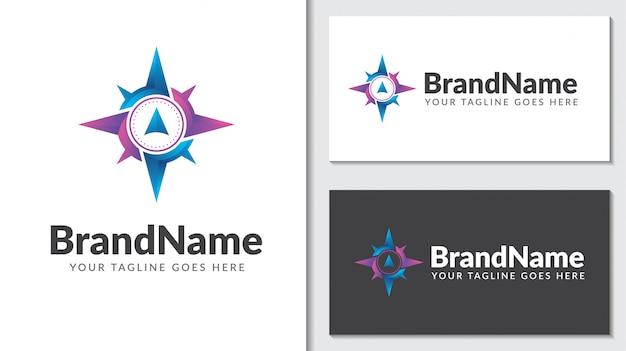 Boussole Concept Logo Icontemplate Vecteur Premium