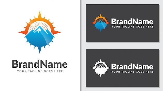 Boussole De Montagne Concept Logo Icontemplate Vecteur Premium