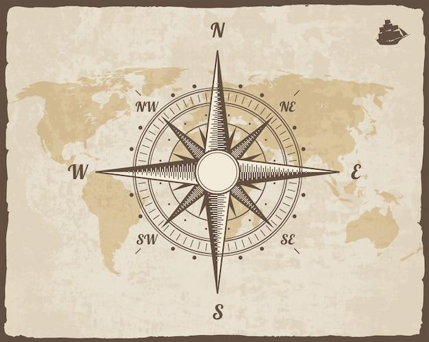 Boussole nautique vintage. carte du vieux monde sur la texture du papier vector avec cadre de bordure déchirée. Vecteur Premium