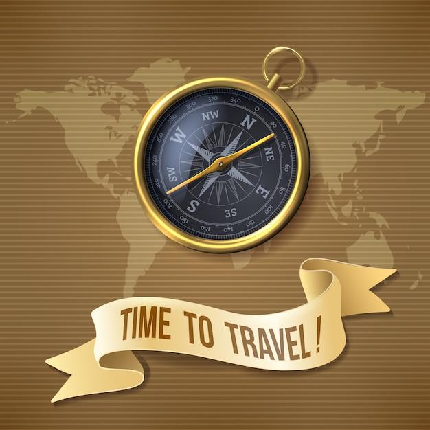 Boussole noire, le temps de voyager Vecteur Premium