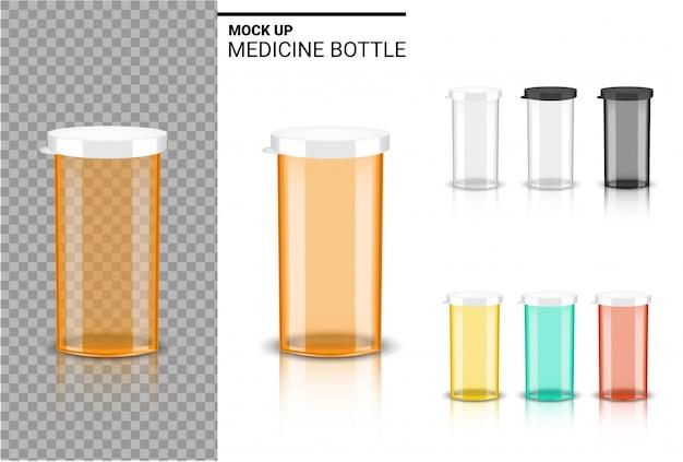 Bouteille 3d maquette realistic medicine packaging pour capsule et comprimé de vitamines. produit sain sur fond blanc. Vecteur Premium