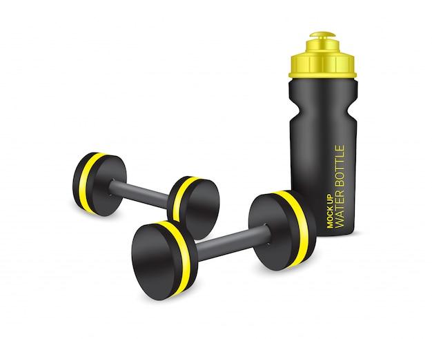 Bouteille 3d shaker en plastique réaliste et haltère en vecteur avec de l'eau et des boissons. santé et sport concept illustration design. Vecteur Premium