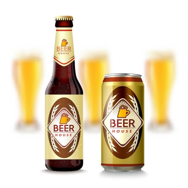 Bouteille de bière et can Vecteur gratuit