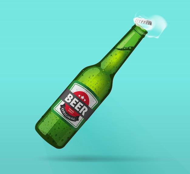 Bouteille de bière froide bouteille ouverte fraîche réaliste Vecteur Premium
