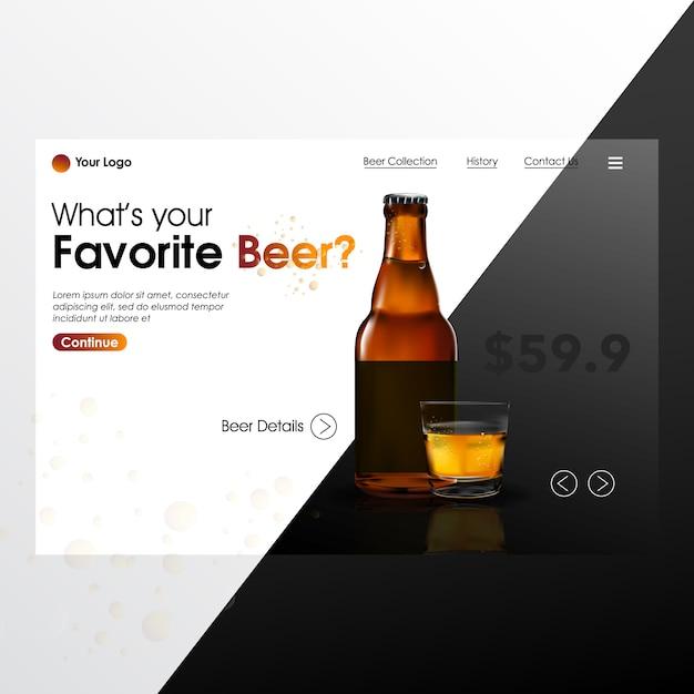 Bouteille de bière realiste mock up avec page d'arrivée illustration Vecteur Premium
