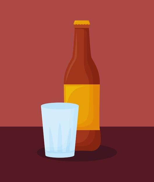 Bouteille de bière et verre Vecteur Premium