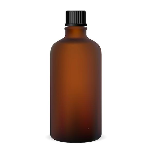 Bouteille brune. flacon de médicament en verre. Vecteur Premium