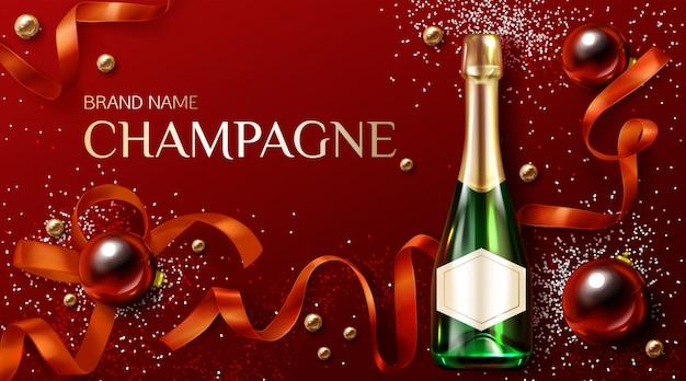 Bouteille De Champagne Avec Décoration De Noël Ou Du Nouvel An. Modèle Publicitaire Vecteur gratuit