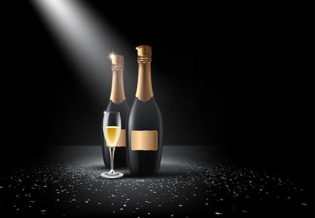 Bouteille de champagne, verres Vecteur Premium