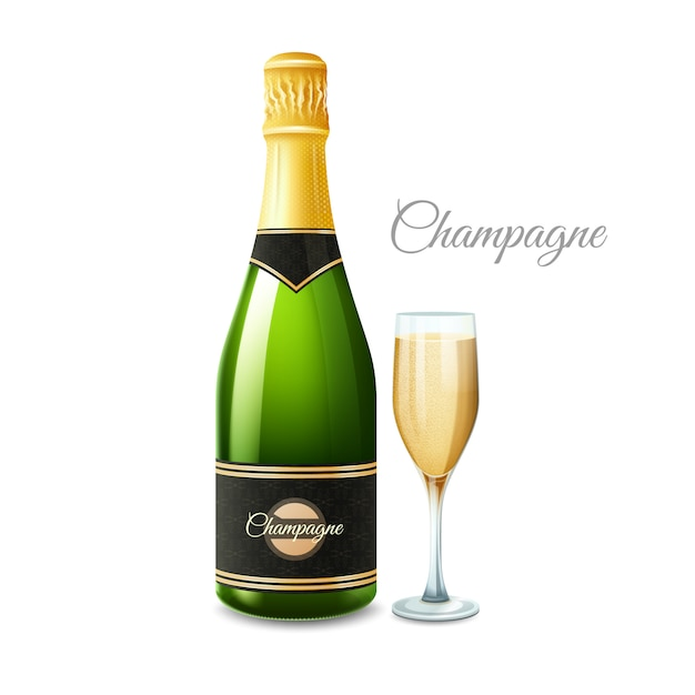 Une Bouteille De Champagne Vecteur gratuit