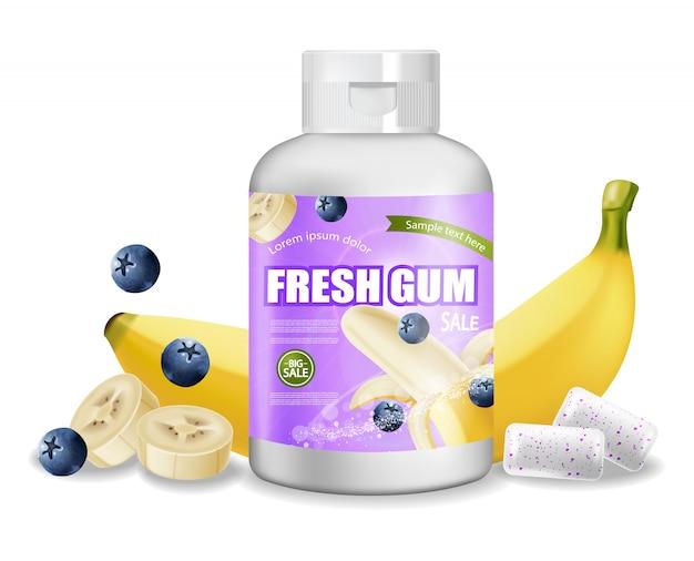 Bouteille de chewing gum Vecteur Premium