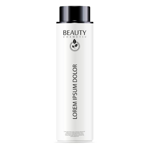 Bouteille cosmétique blanche pour le visage, shampoing Vecteur Premium