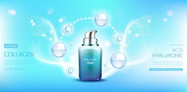 Bouteille cosmétique de collagène d'acide hyaluronique Vecteur gratuit