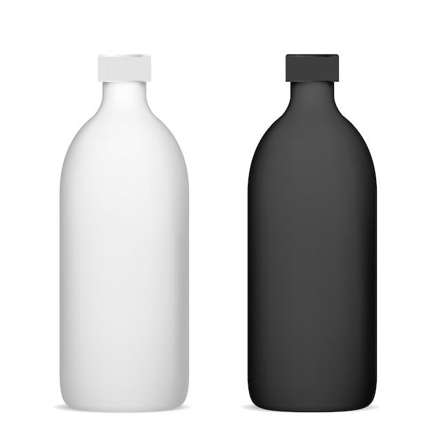Bouteille cosmétique. paquet de shampooing maquette en plastique Vecteur Premium