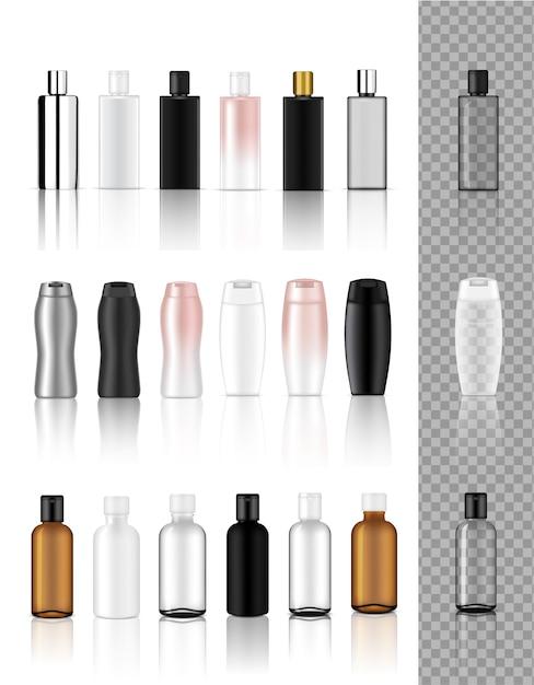 Bouteille cosmétique transparente réaliste maquette 3d Vecteur Premium
